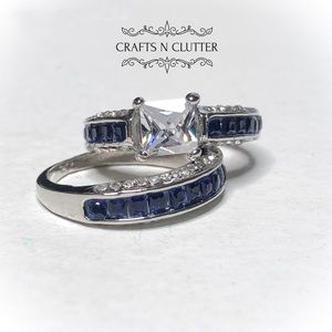 Blue/White Sapphire Silver Wedding Engagement Ring